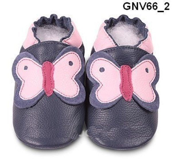 Blue/pink butterfly classic girls soft soled leather baby shoes