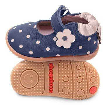 Blue toddler ballerina shoes with flexi sole in rubber