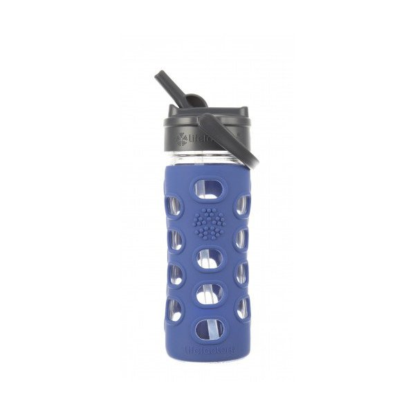 Lifefactory - Borraccia in vetro Straw Cap con cannuccia 350ml