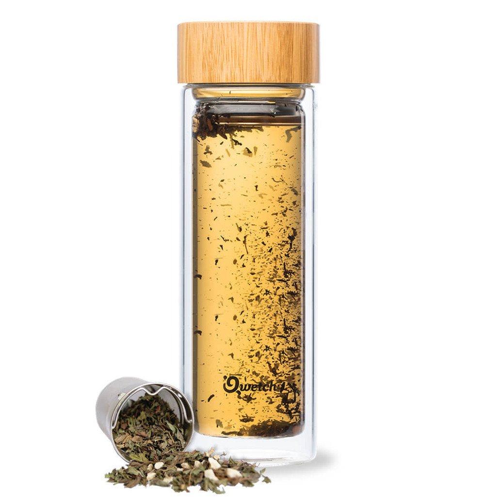 Bottiglia per tè e infusi in vetro e bamboo con 2 filtri