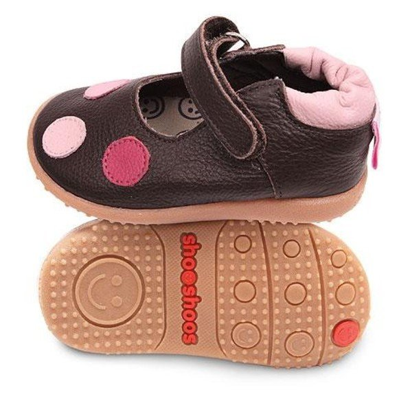 Brown toddler ballet flat shoes with flexi sole in rubber