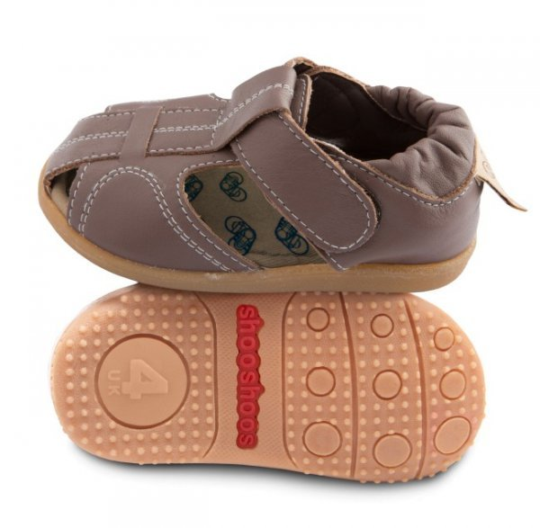 Brown toddler sandal with flexi sole in rubber