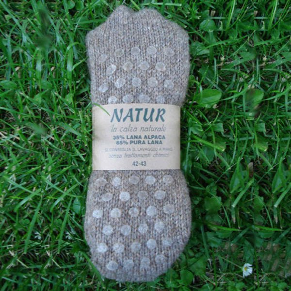 Calza antiscivolo lana e alpaca