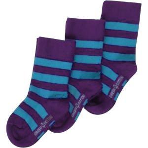 Calza corta righe azzurre/viola cotone bio