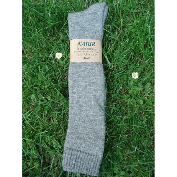 Calza lunga in spugna di lana naturale