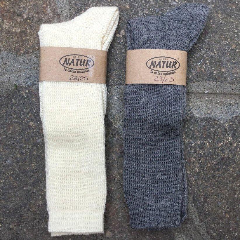 Calza lunga in lana naturale e cotone bio