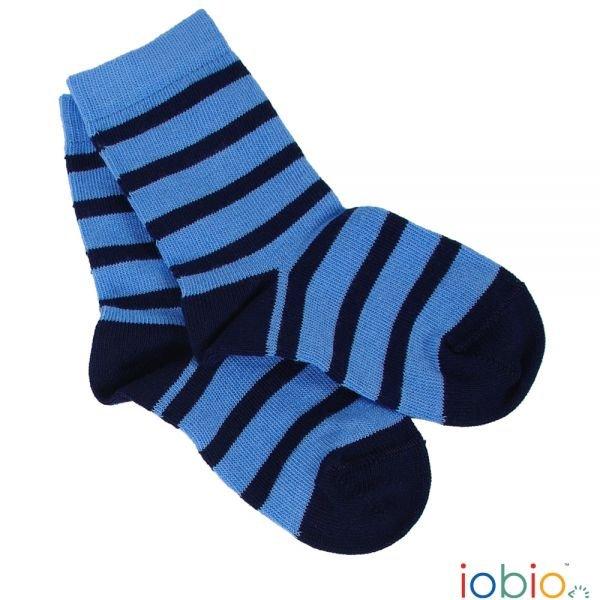 Calze Popolini righe azzurro/blu in cotone biologico