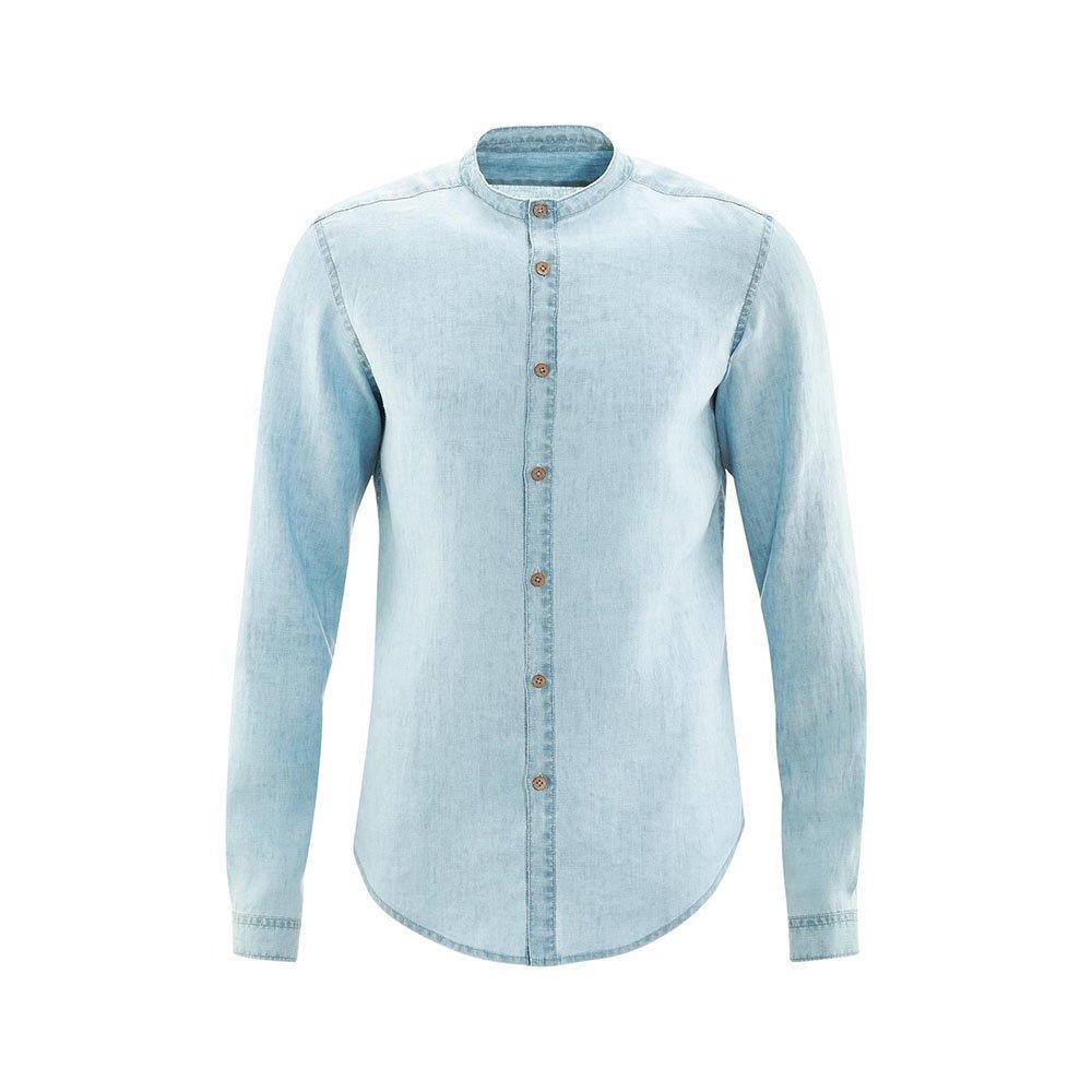 Camicia coreana manica lunga lino e cotone biologico
