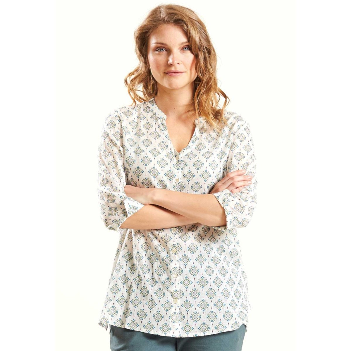 Camicia etnica in voile di Cotone Equosolidale
