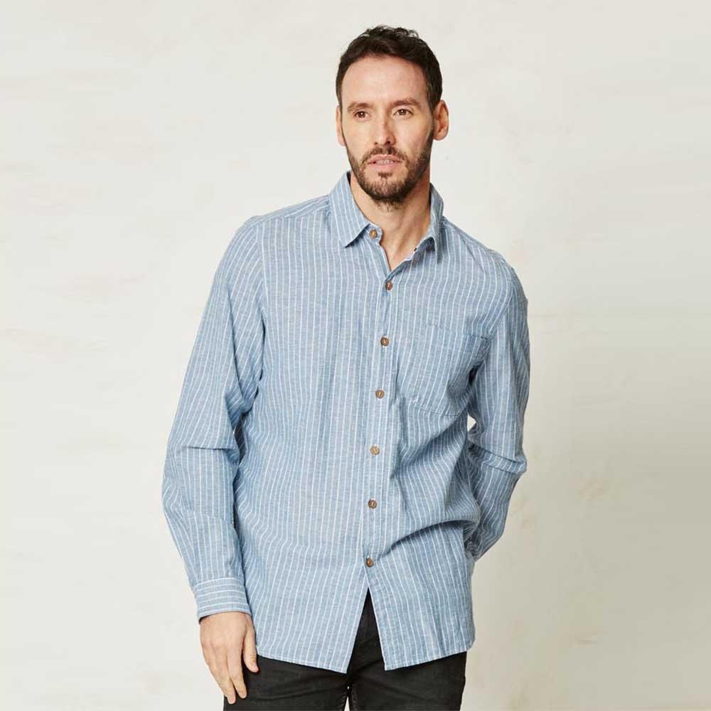 Camicia uomo a righe in canapa