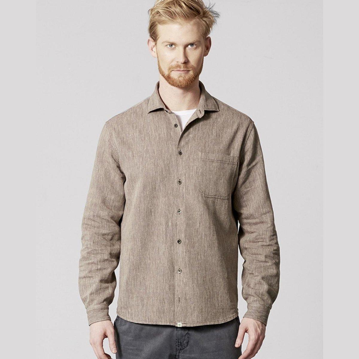 Camicia uomo melange in canapa e cotone biologico