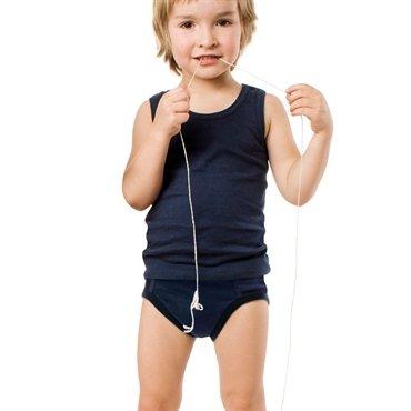 Canottiera bambino blu in cotone biologico