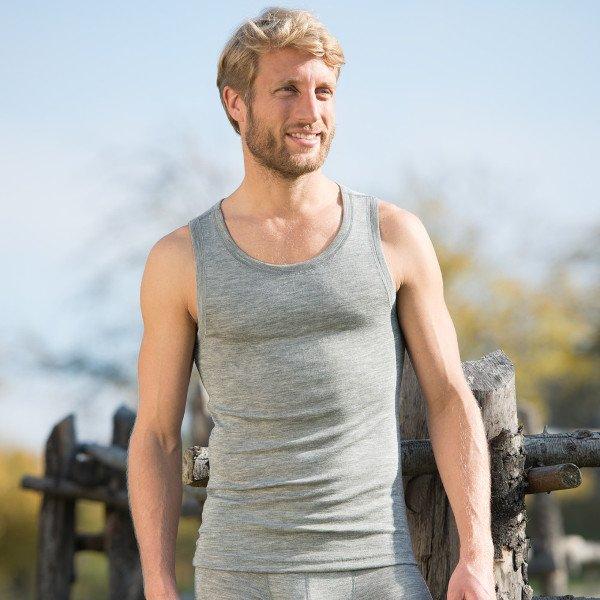 Canottiera uomo grigia in lana e seta lavabile in lavatrice