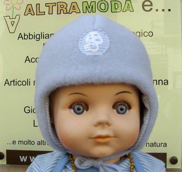 Cappello Funghetto celeste in lana biologica