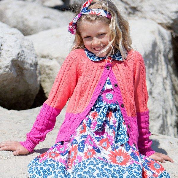Cardigan bicolore bambina in cotone bio
