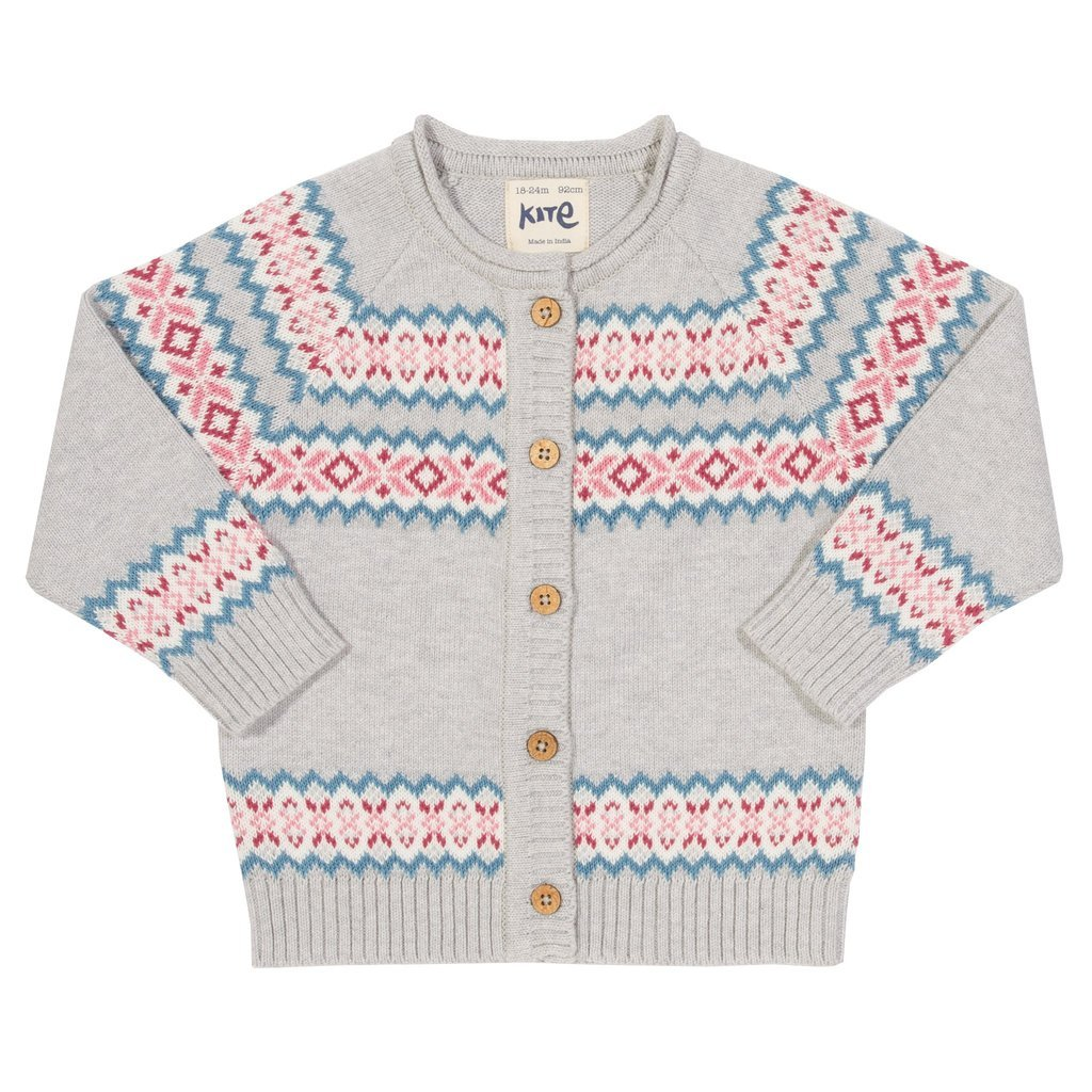 Cardigan Fair Isle in cotone biologico
