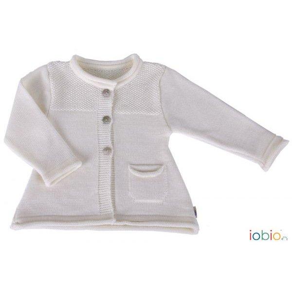Cardigan Edda Bianco per bambina in pura lana merino