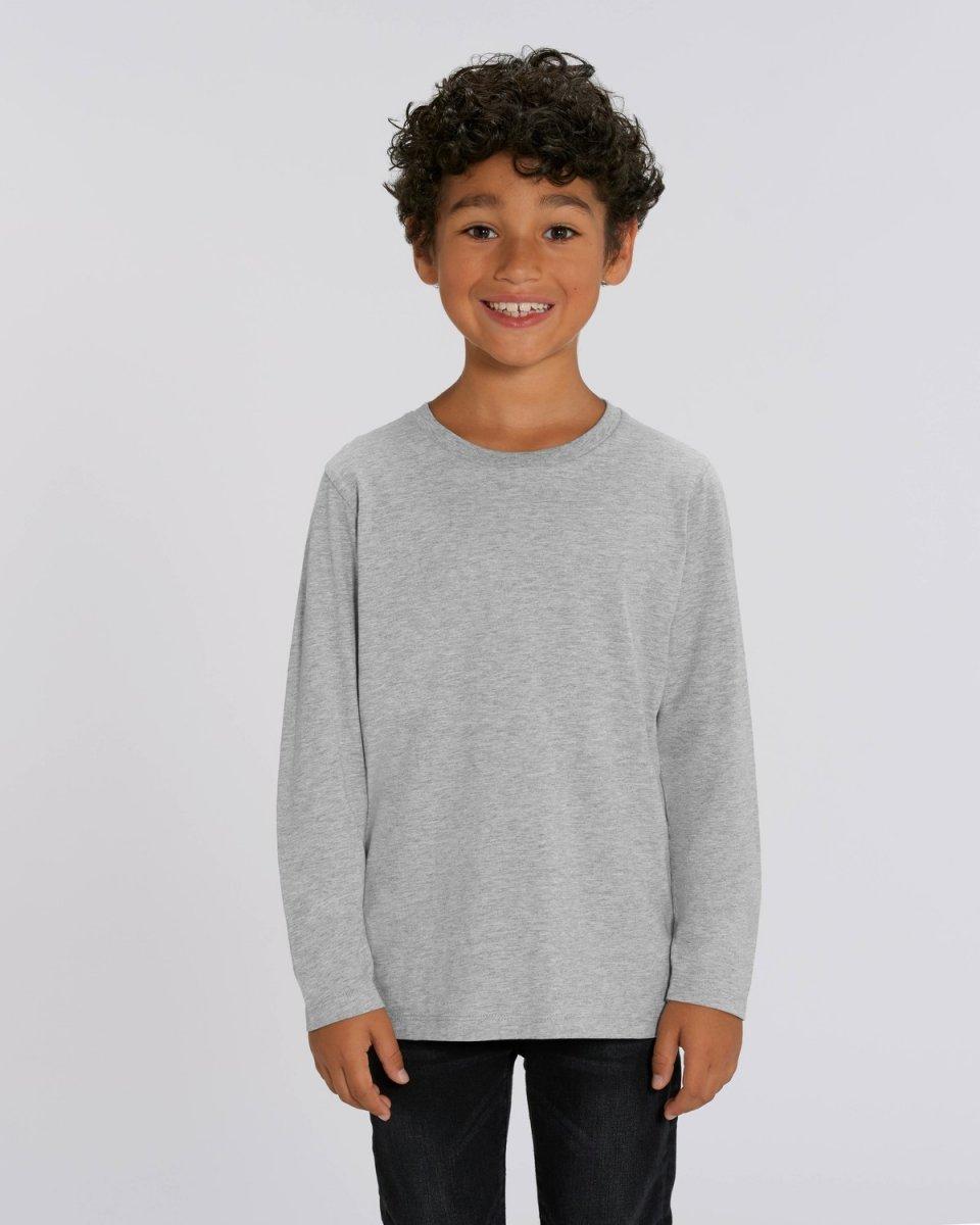Children unisex long sleeve shirt in organic cotton Grey