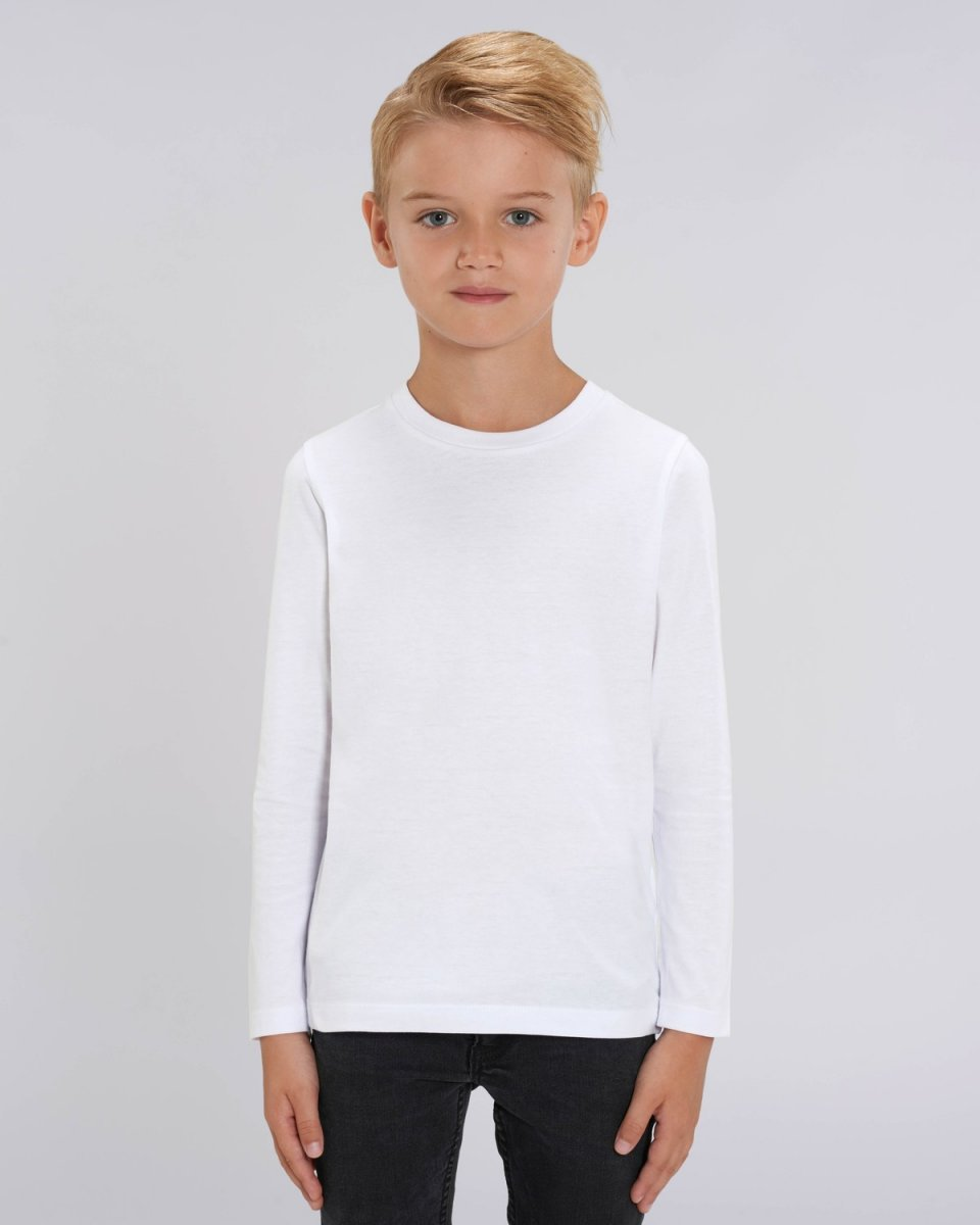 Children unisex long sleeve shirt in organic cotton White