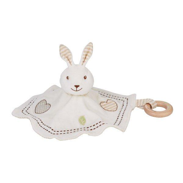 Dudù Coniglietto in cotone biologico con anello in legno