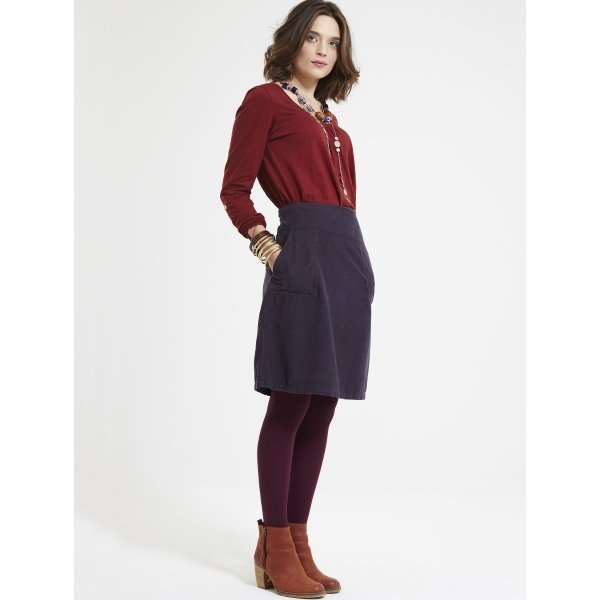 Cord a line skirt in organic cotton