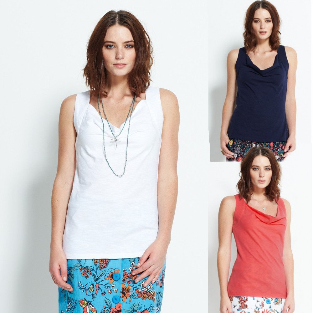 Cowl Neck Cami t-shirt in organic cotton