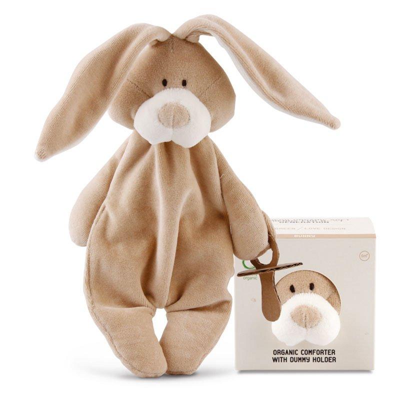 Doudou Comforter Bunny con portaciuccio in Cotone Bio