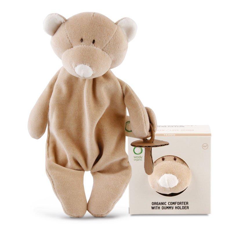 Doudou Conforter Teddy con portaciuccio in Cotone Bio