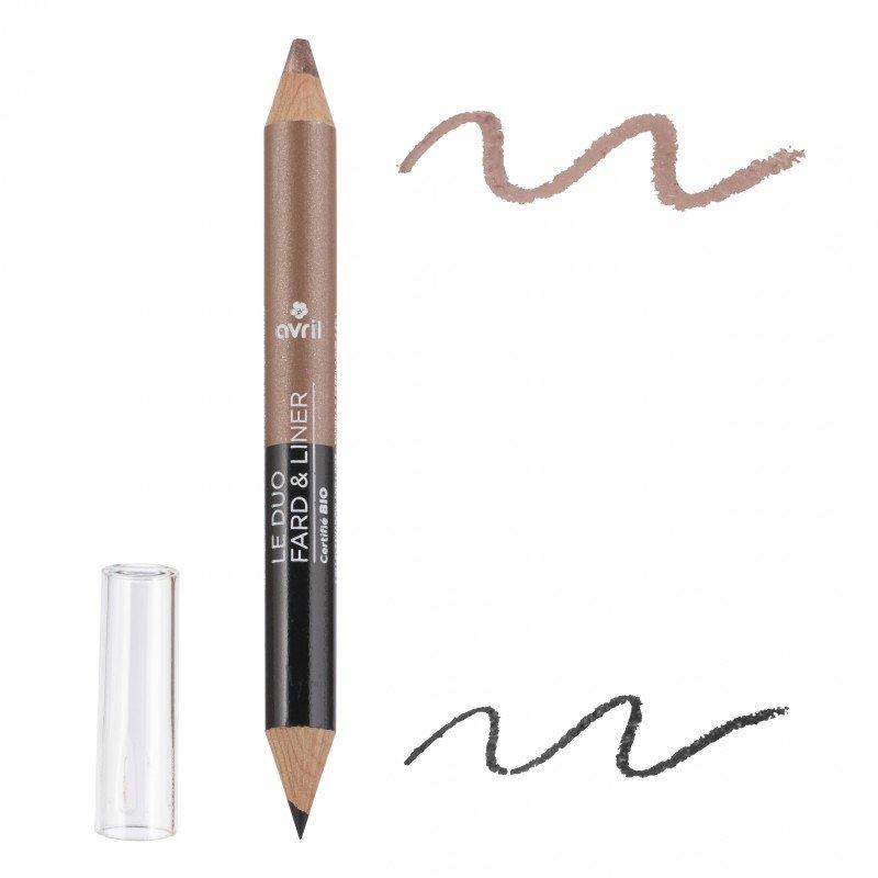Duo ombretto e matita Noir Charbon/Taupe Nacrè biologico