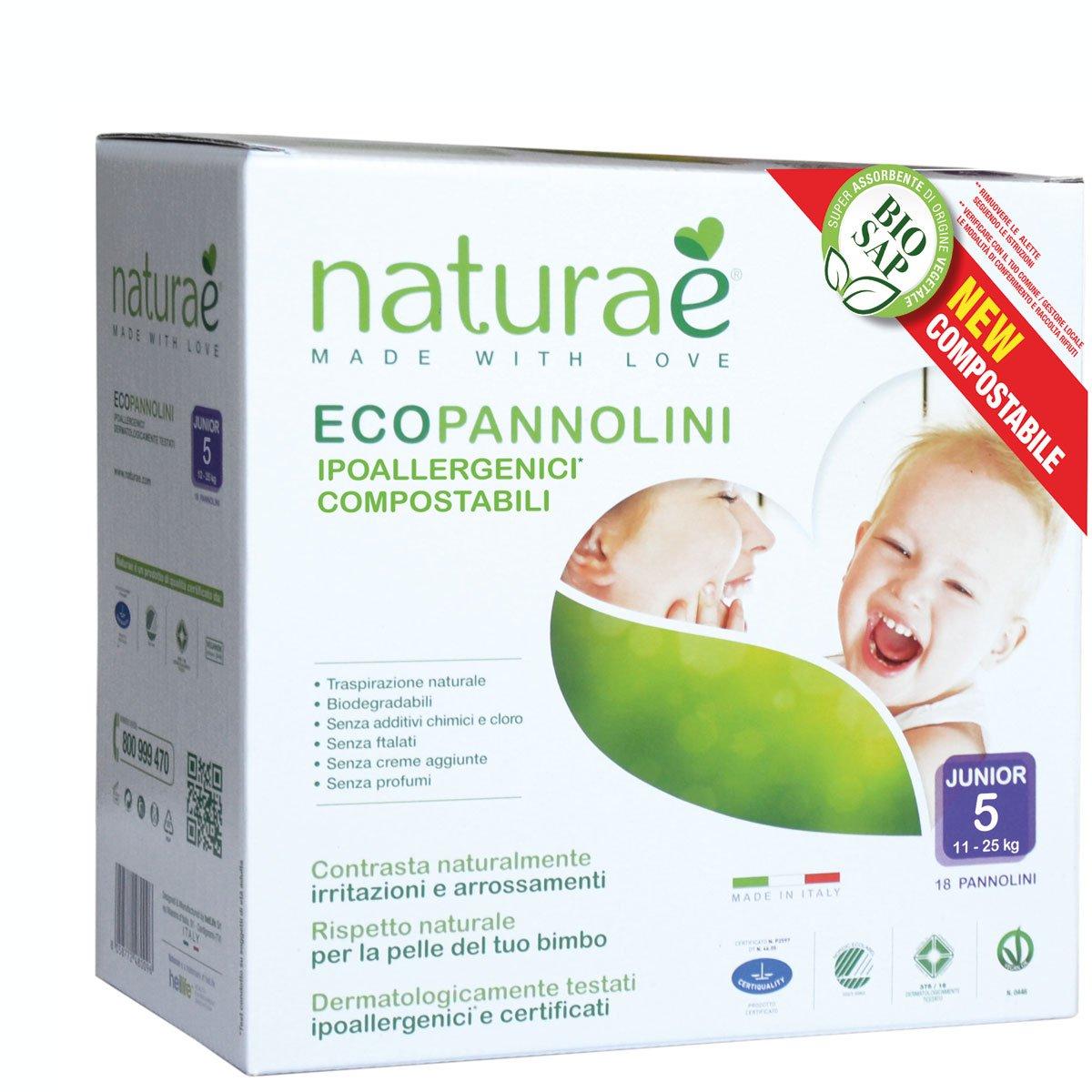 Ecopannolini Compostabili Naturaè® 5 JUNIOR 11-25 kg, 18 pz