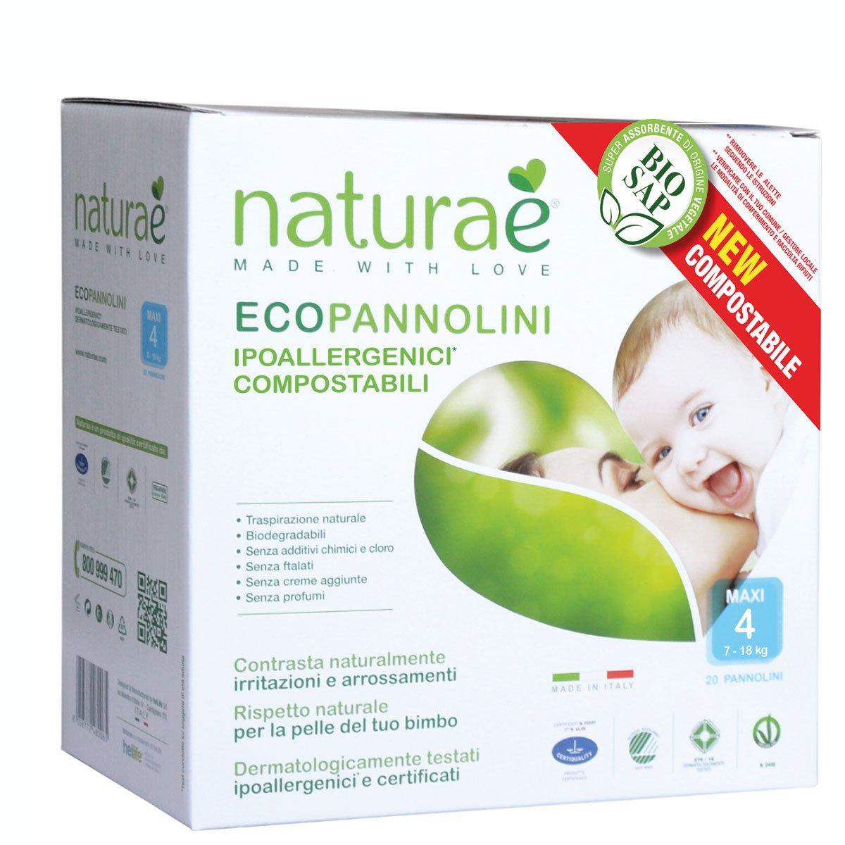 Ecopannolini Compostabili Naturaè® 4 MAXI 7-18 kg, 20 pz