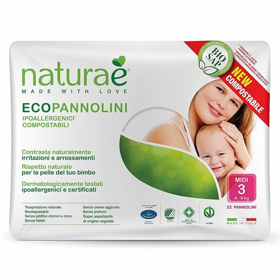 Ecopannolini Compostabili Naturaè® 3 MIDI 4-9 kg, 22 pz