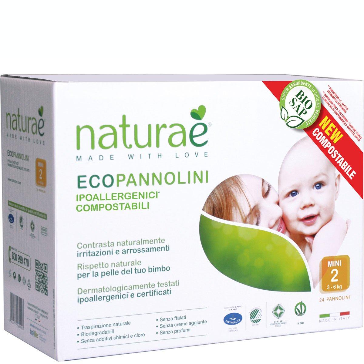 Ecopannolini Compostabili Naturaè® 2 MINI 3-6 kg, 24 pz