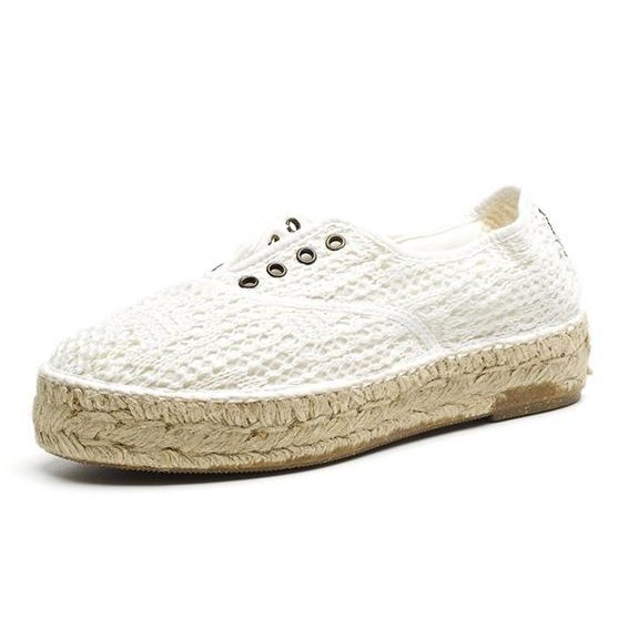Espadrille shoes beige in organic cotton canvas and jute