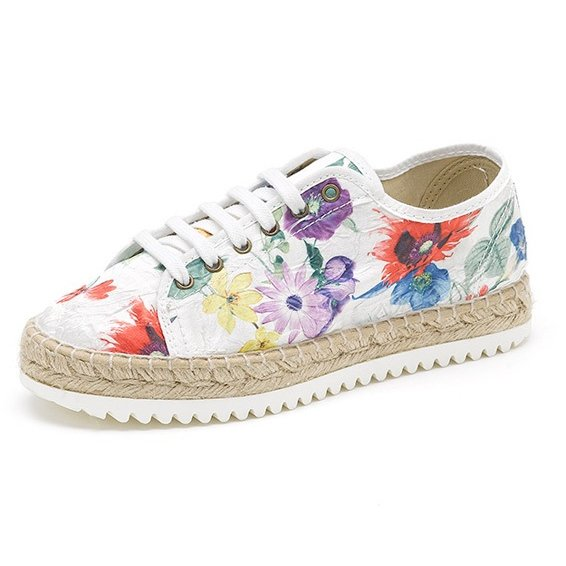 Espadrille Basket shoes flower in organic cotton canvas and jute