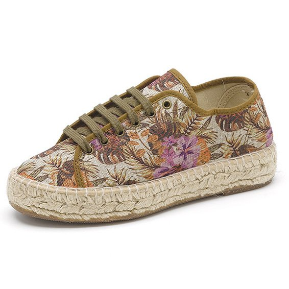 Espadrille shoes flower in organic cotton canvas and jute