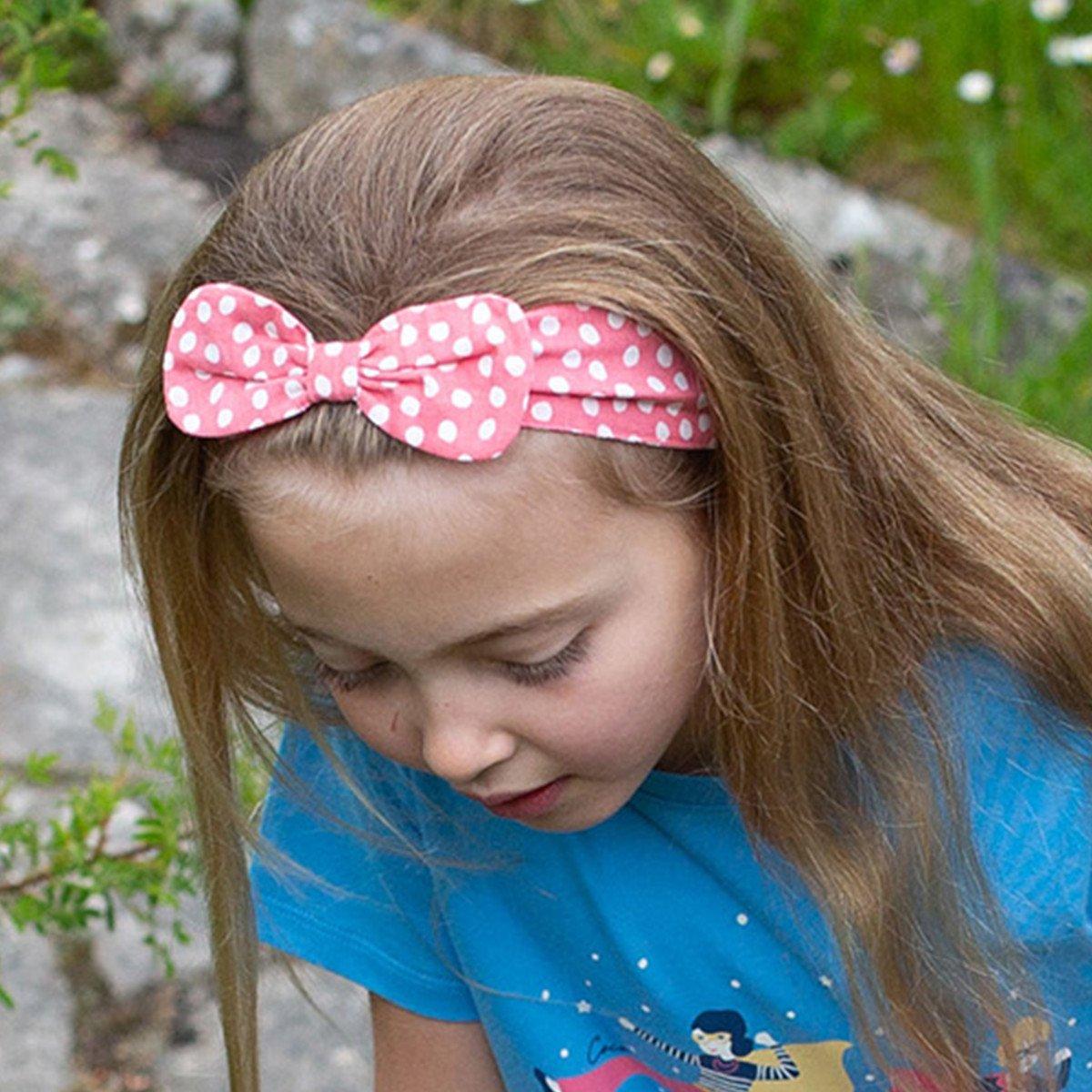 Fascia per capelli con fiocco Dotty in cotone biologico