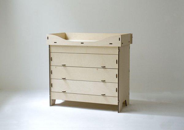 Fasciatoio con Cassettiera in legno naturale