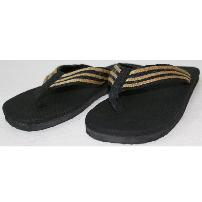 Flip-flops in hemp Black