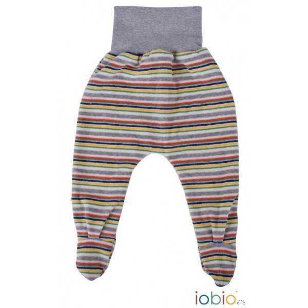 Footed Stripes pants for newborn made from organic cotton chenille