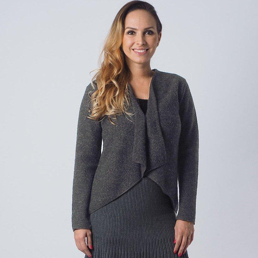 Giacca donna grigia in lana cotta biologica