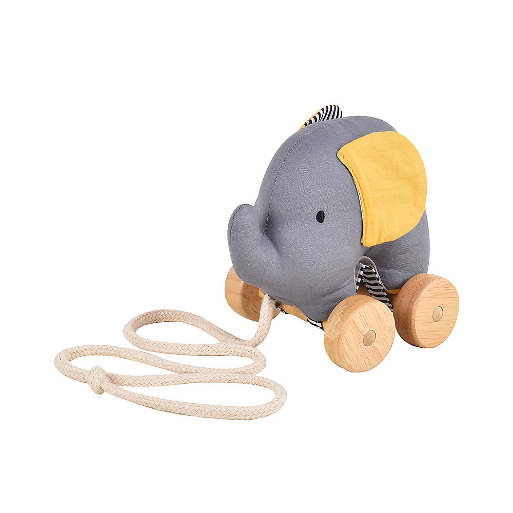 Gioco da tirare Elefante in cotone biologico e legno