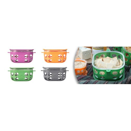 Glass food storage with silicone sleeve 950ml