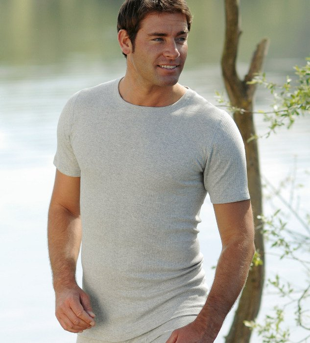 Gray short sleeve vest in ribbed organic cotton