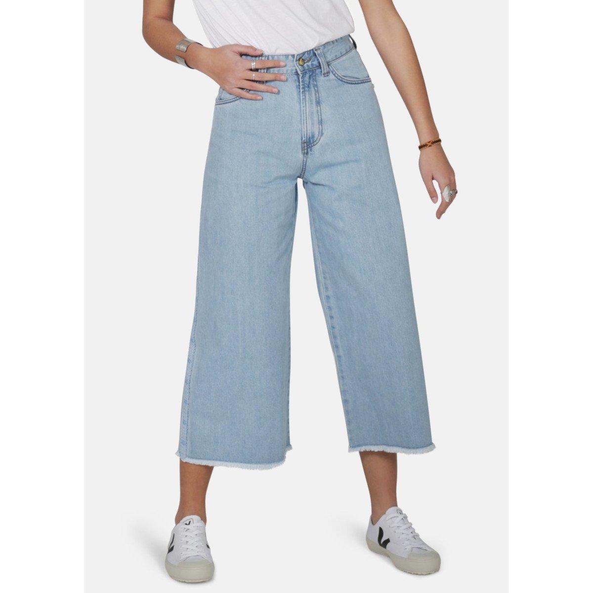 Jeans Crop a gamba larga Light Wash 100% cotone biologico