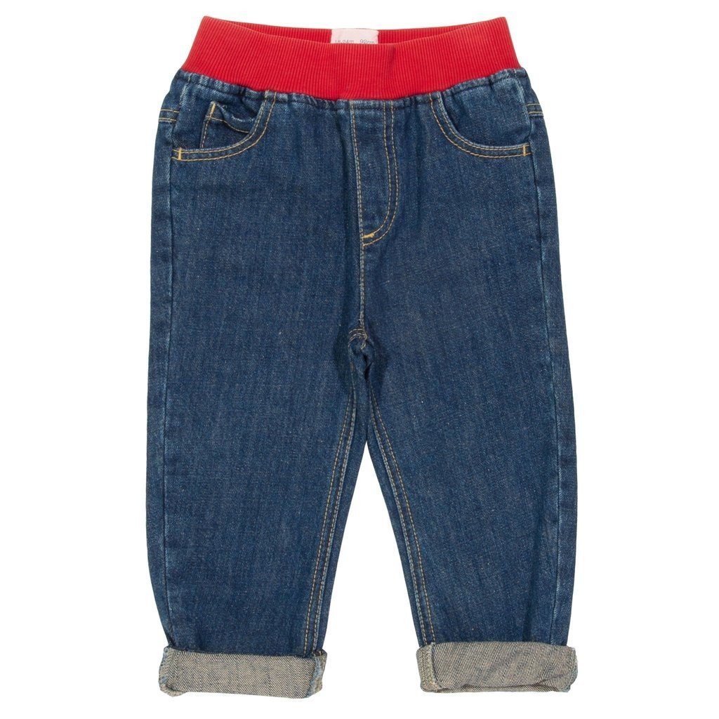 Jeans with elastic ribbed waistband in organic cotton