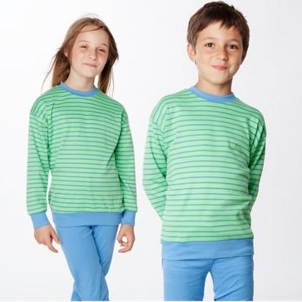 Kids blue/green striped pyjamas