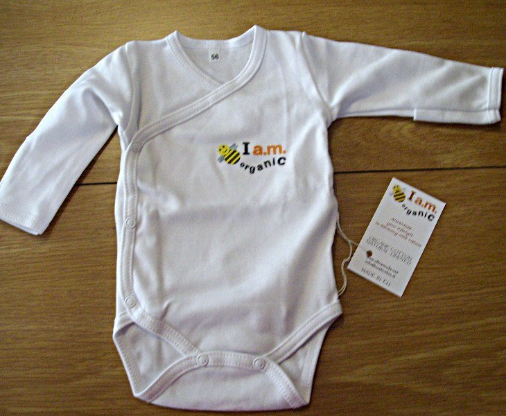 Kimono long sleeves bodysuit in organic cotton