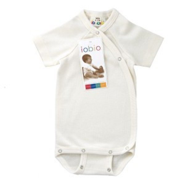 Kimono short sleeves bodysuit in organic cotton