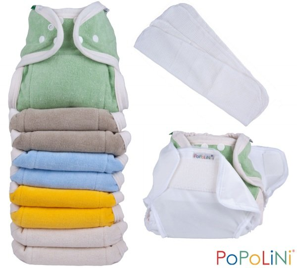 Kit risparmio Popolini OneSize Arcobaleno pannolini lavabili 100% cotone bio